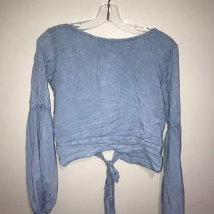 Baby Blue Bell Sleeve / Tied Back Blouse
